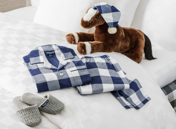 stuffed horse and checkered pajamas