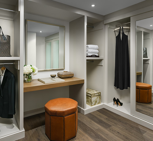 large closet with vanity area