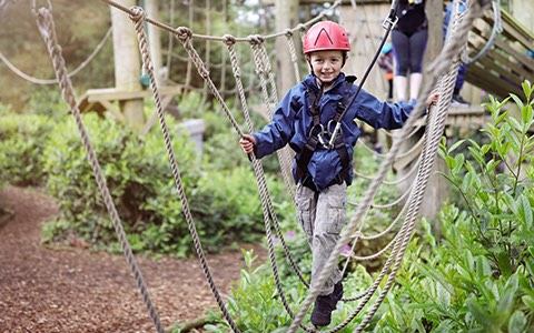 child walking on ropes course