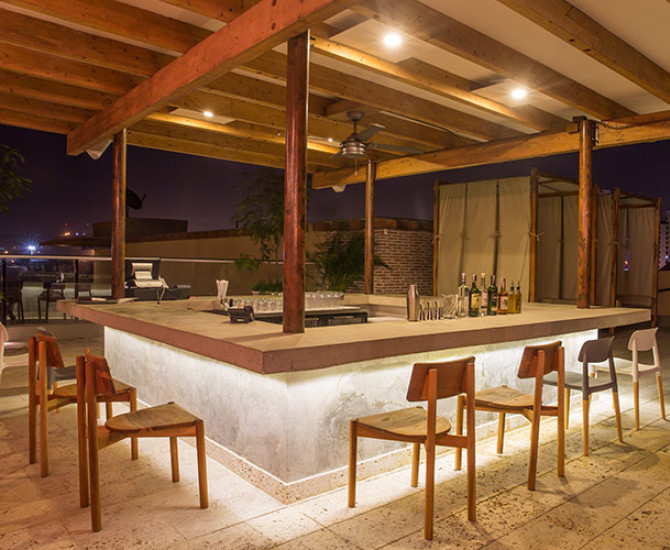 outdoor wrap-around bar in a covered area