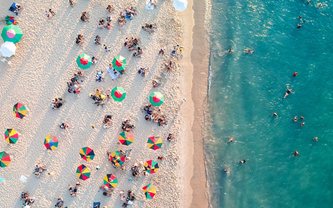 aerial view of the busy beach