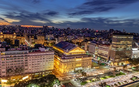 buenos aires lit up by building lights at night