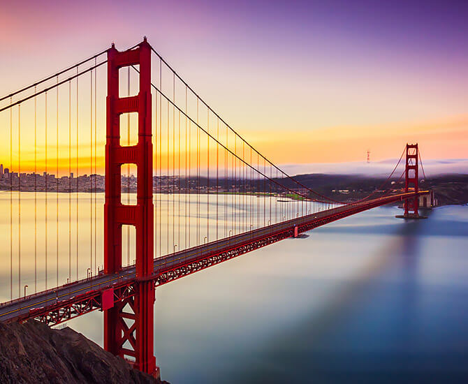 Golden Gate Bridge with sunset in the background