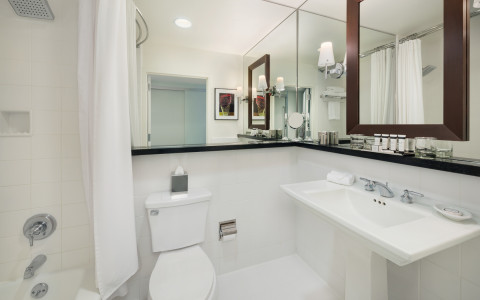 Bathroom with white tub, sink toilet & large panel mirrors
