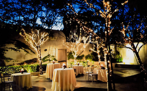 Outdoor event setting with small round tables & trees wrapped with twinkling lights
