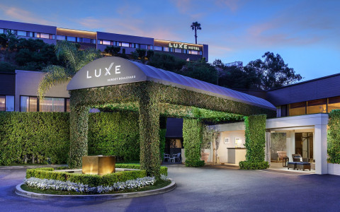 Luxe Sunset Entrance Nighttime