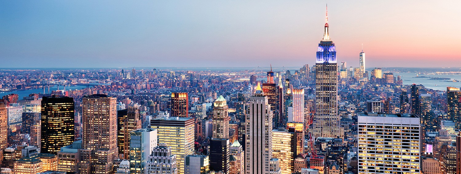 aerial view of Manhattan during twilight