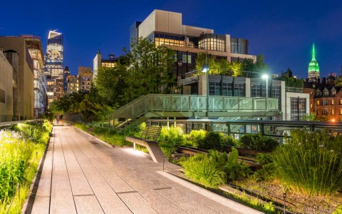 Highline walking trail in Chelsea district of New York City