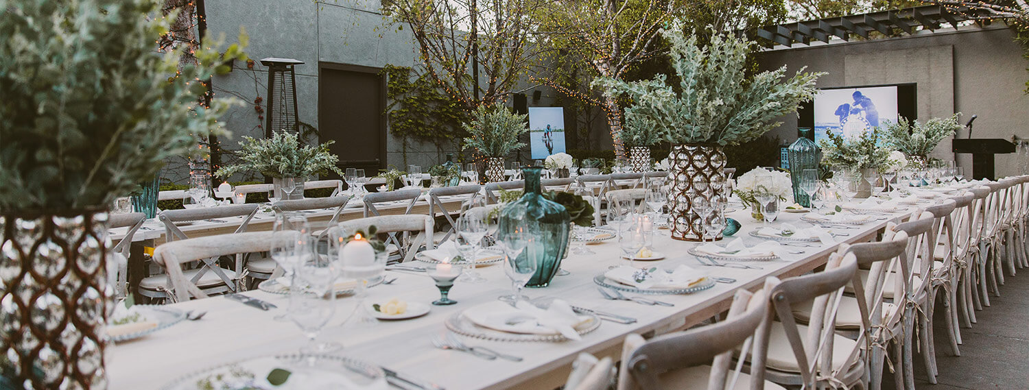 long table for outdoor reception