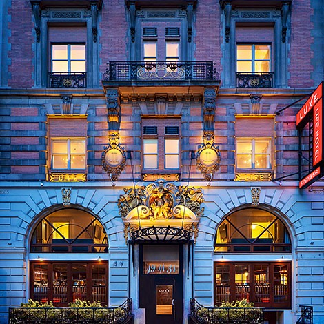 exterior shot of luxe life hotel new york