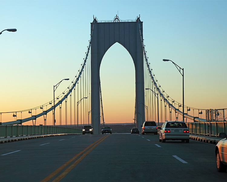 driving over the newport bridge