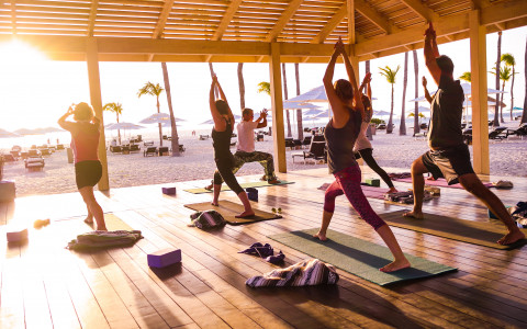 yoga deck at  manchebo beach resort and spa aruba