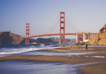 view of golden gate bridge from the beach
