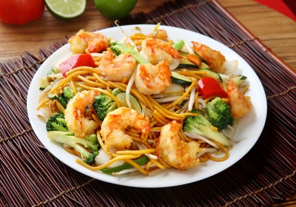 asian stirfry dish with shrimp and veggies