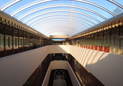 Marin County Civic Center interior glass roof with steel arches receding from viewer looking down into central atrium