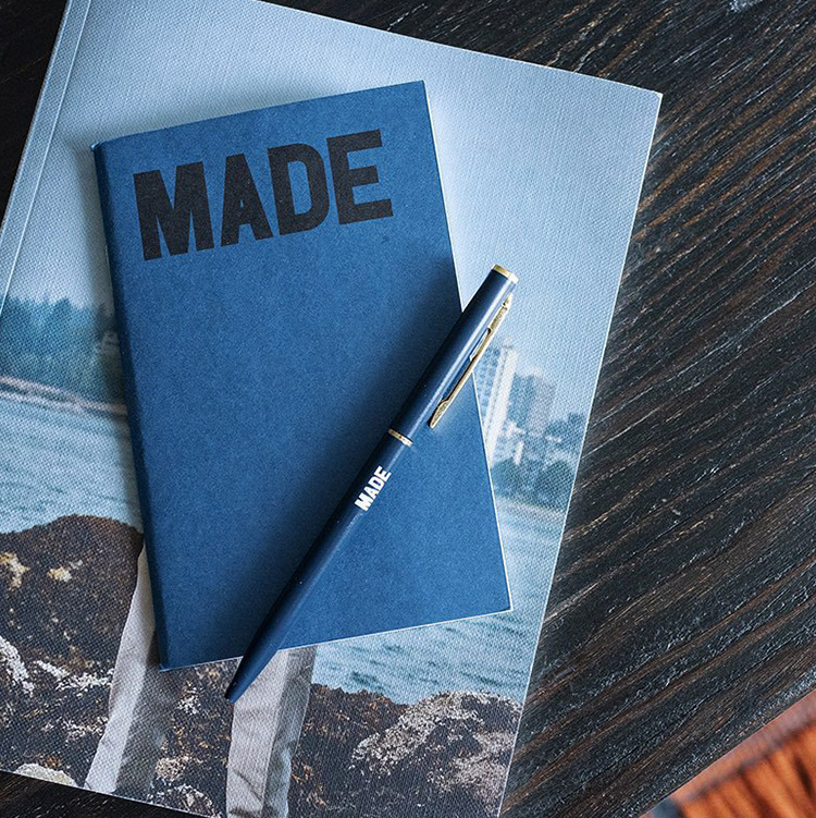 photo of a MADE branded Notebook