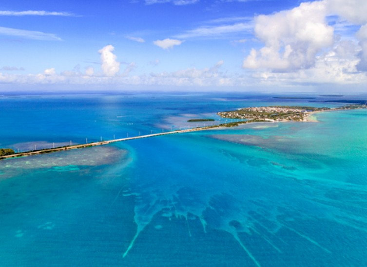 florida keys aerial view with crystal blue waters