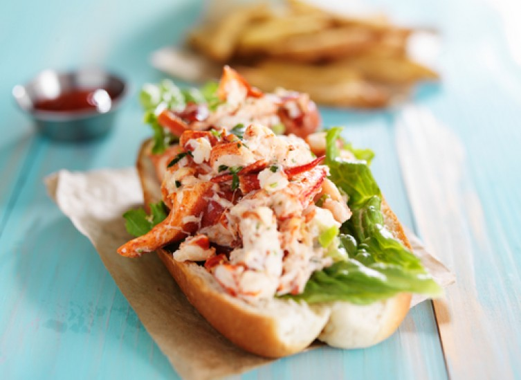 lobster roll on a wooden table