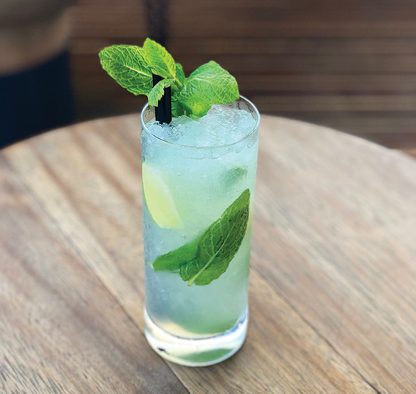 a mojito cocktail in a large icy glass garnished with mint sprig