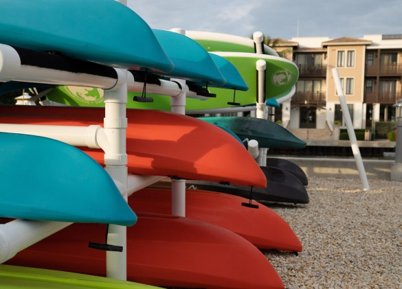 close up image of kayaks on shelf