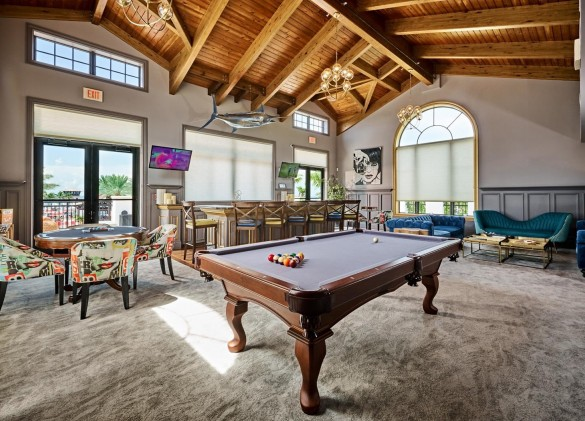Marlin Bay clubhouse with pool table and chairs