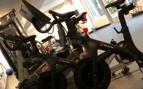 peloton bike in the gym
