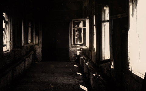 sepia toned haunted house image