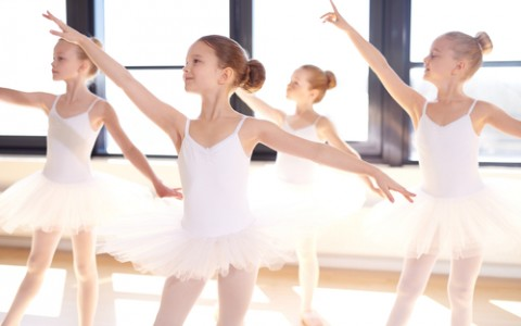 young ballerinas in dance studio