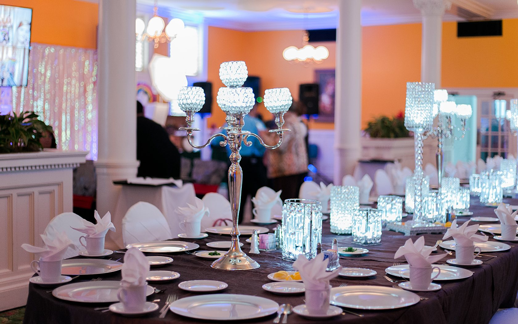 event space at the menger with white plates and cups