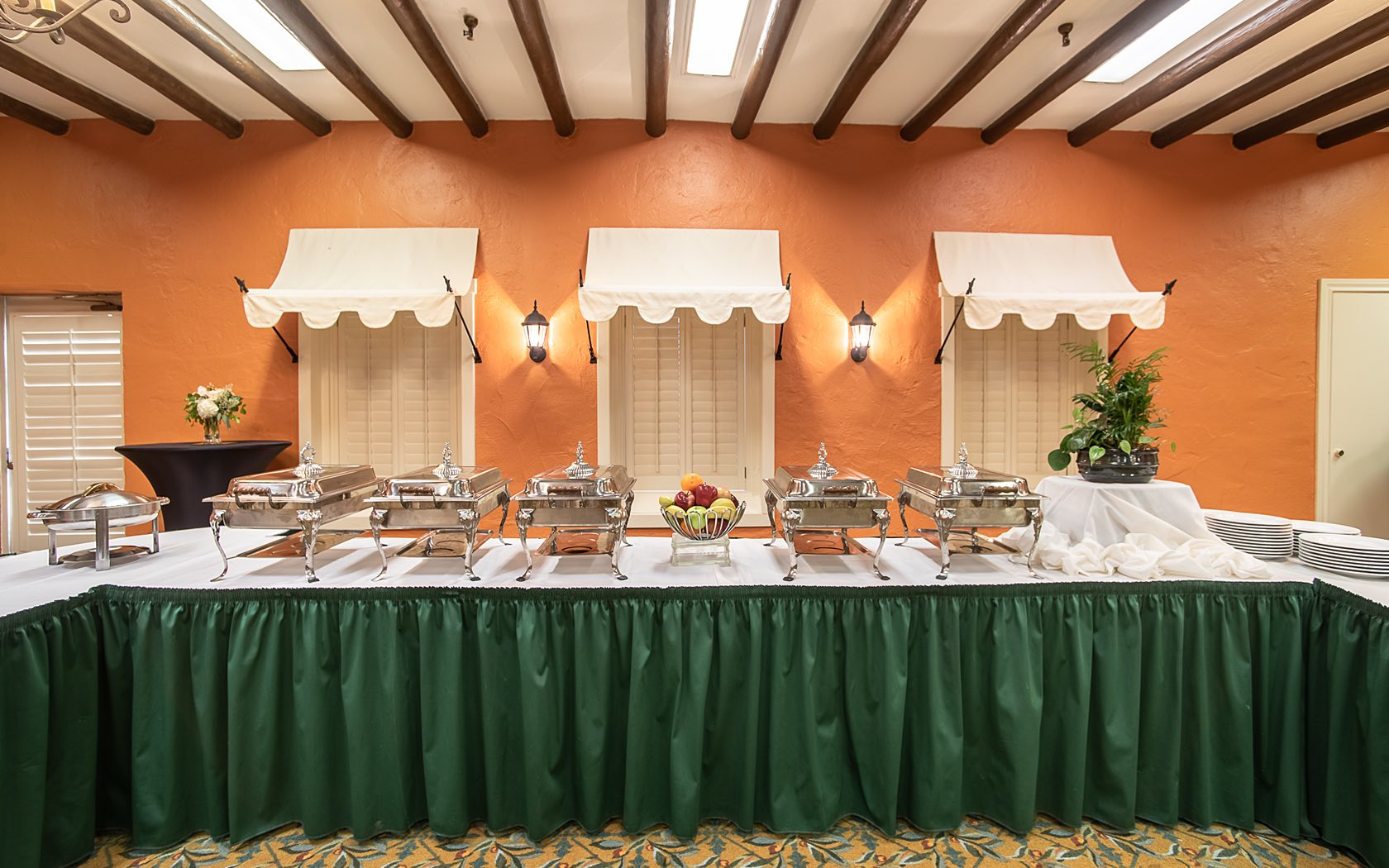 event space set with food on a buffett