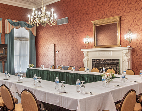 a meeting room set for an event