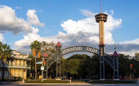 entrance to hemisfair park