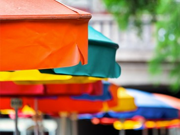 close up of colorful umbrellas