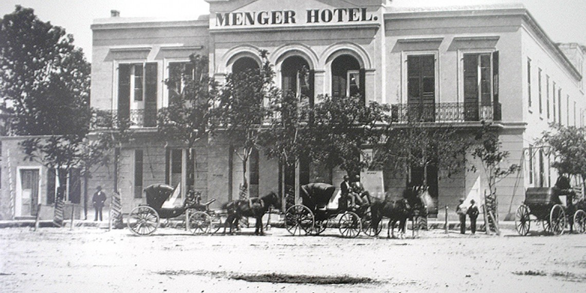 black and white photo of the exterior of the menger hotel