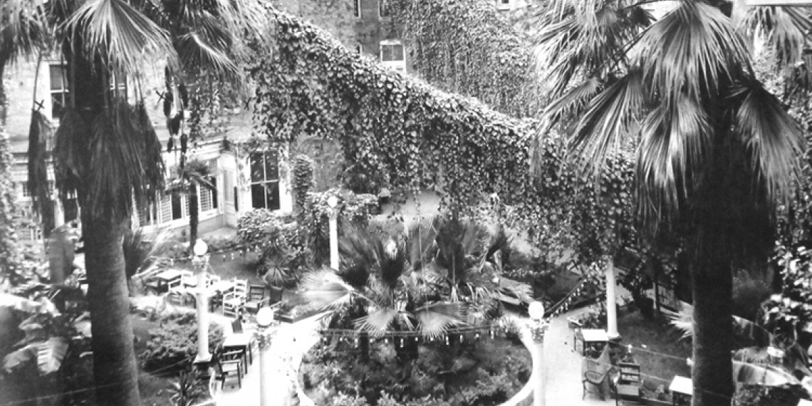 black and white photo of an outside seating area