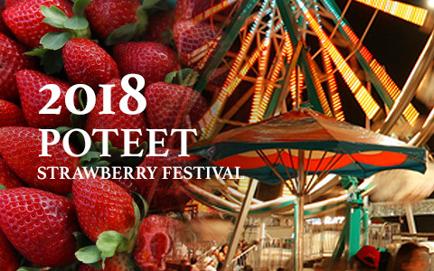 On the left half of the photo is a collection of strawberries, on the right half is the bottom half of a ferris wheel. Overlaid are the words 2018 Poteet Strawberry Festival