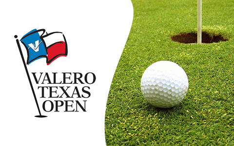 On the right half is a golf ball on grass next to a golf hole. On the left are the words Valero Texas Open in black on a white background.