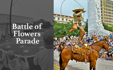 On the left reads Battle of Flowers Parade with people holding a large american flag in the bckgroung. On the right is a man dressed in cowboy attire and a hat holding lasso rope standing on the back of a horse while a group of people watch in the backgro