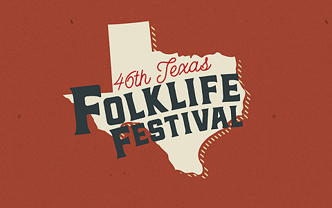 Red background with the state of Texas in the center in tan and the words 46th Texas Folklife Festival