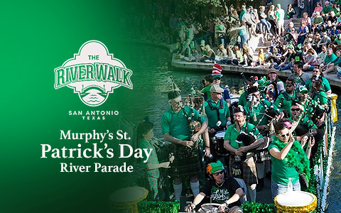 Men in green shirts playing bagpipes on a boat in a boat parade. Overlaid are the words Murphy's St. Patrick's Day River Parade
