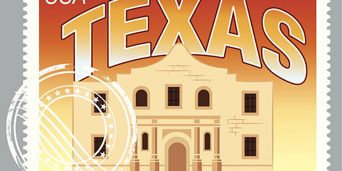 San Antonio Texas Stamp with Illustration of the Alamo