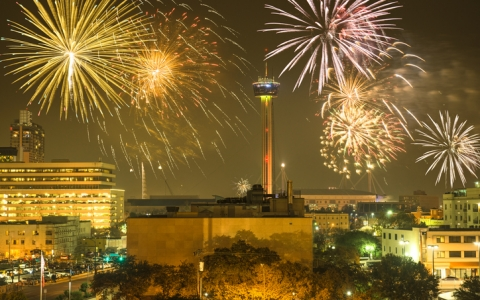 Fireworks over downtown San Antonio