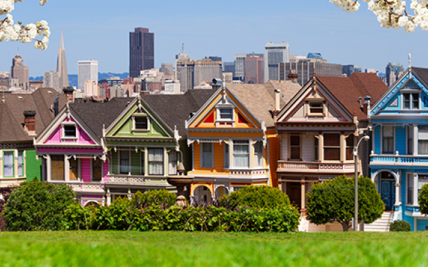famous painted lady houses line the street of san Francisco