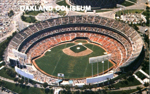 Oakland Coliseum with full crowd for Oakland As game