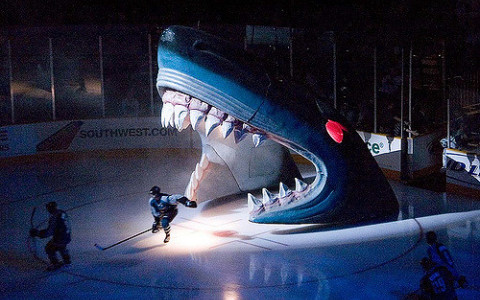 San Jose Sharks entering the ice through big blue shark model