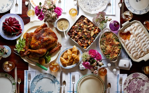 Thanksgiving spread on a table