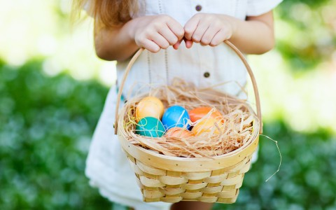 little girl in her sunday best holding a easter egg basket in the grass