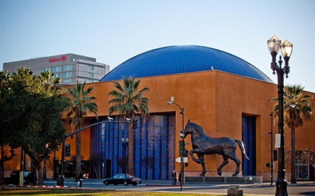 exterior of museum with large bronze horse
