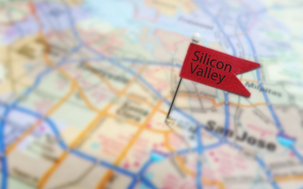 map with small flag labeled silicon valley