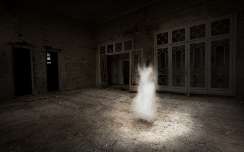 what appears to be a ghost of a women in a dilapidated building